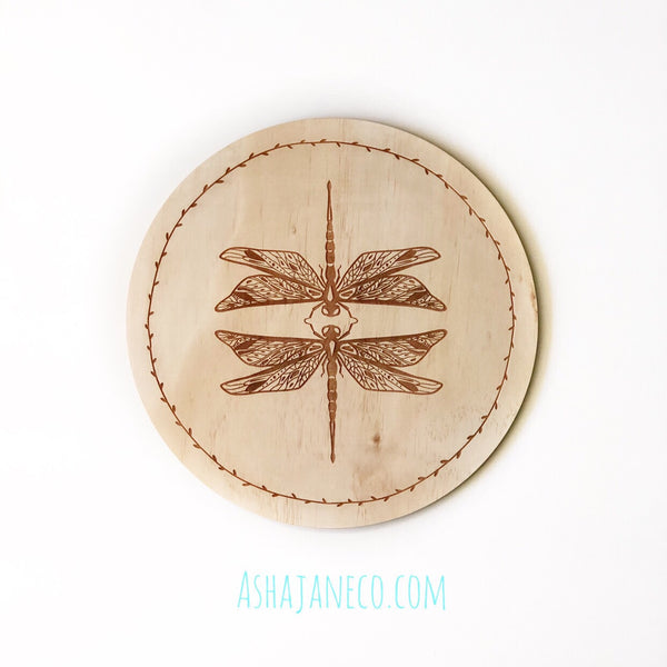 Asha Jane & Co Laser cut & engraved Flip top lid with dividers and engraved image of dragonflies on lid