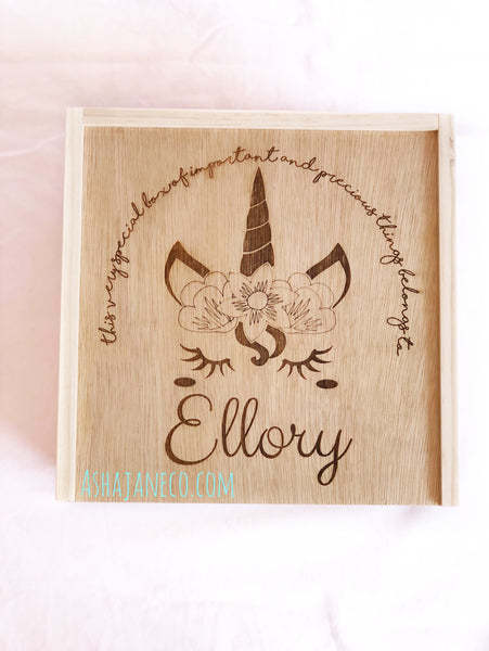 Asha Jane & Co Laser Engraved Handcrafted Slide Top Box Unicorn Treasure Box with Custom Name
