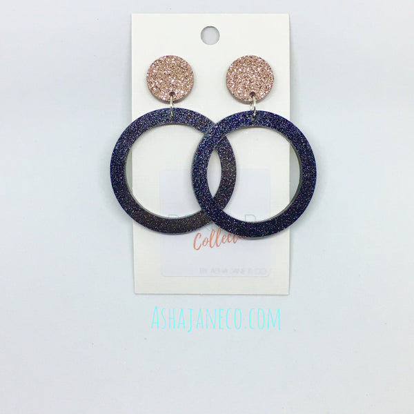 Acrylic Dangle Earrings || Large Hoop