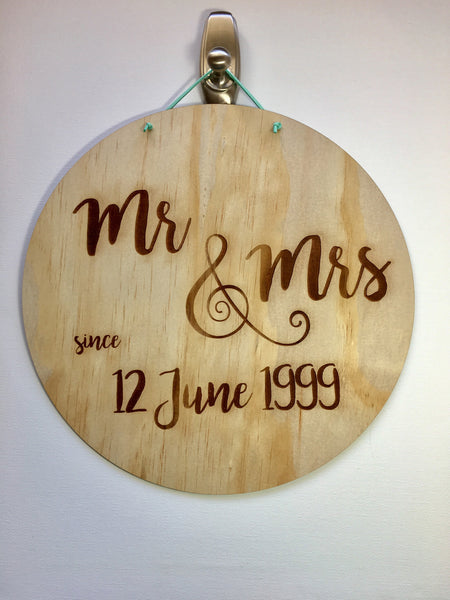 Asha Jane & Co Custom Laser Cut & Engraved Anniversary Wedding Plaque