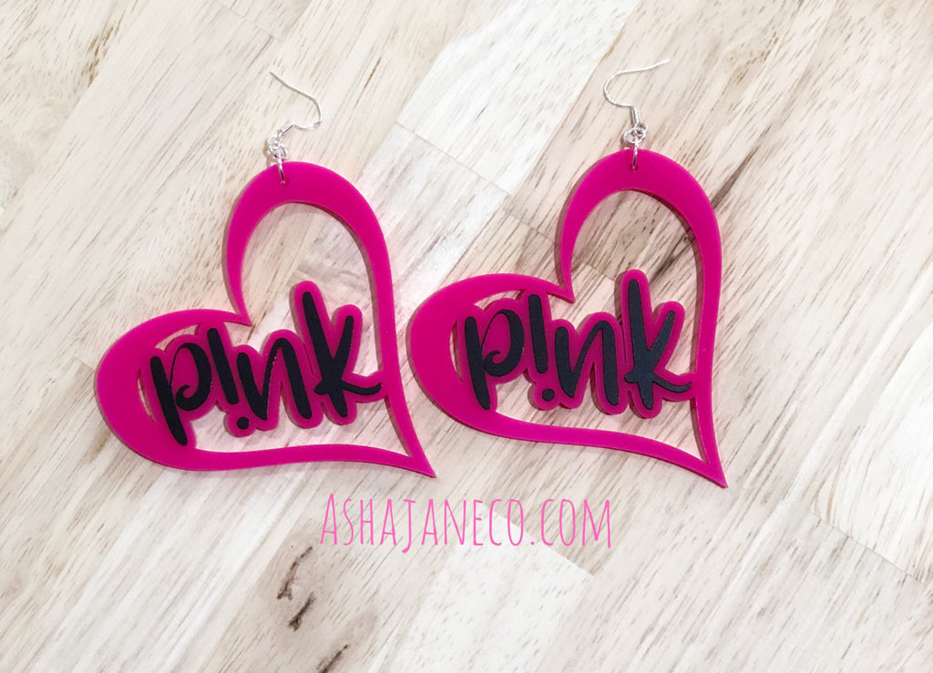Asha Jane & Co Custom Lasercut Earrings P!nk Heart Dangle Earrings