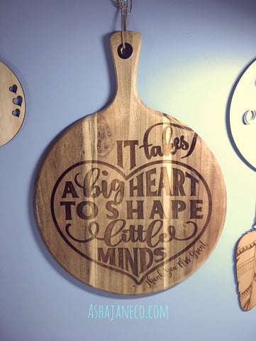 Engraved Acacia Cheese Board || It takes a big heart