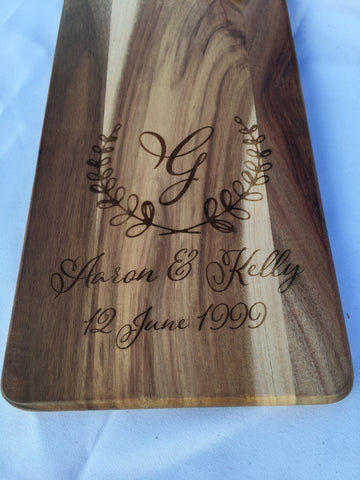 Engraved Acacia Cheese Board || Wedding Date with laurel