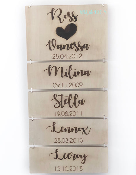 Family - Heart || Custom Wall Hanging || Light Wood
