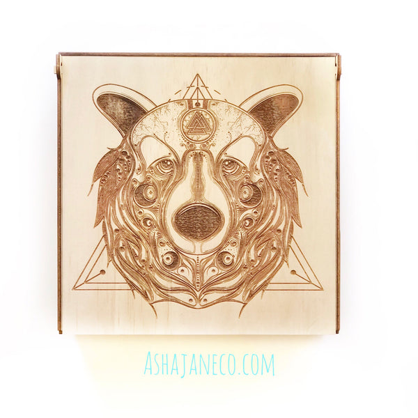 Asha Jane & Co Laser cut & engraved Flip top lid with dividers and engraved image sacred geometry bearon lid