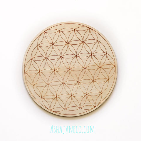 Asha Jane & Co Laser Cut & Engraved Sacred Geometry Flower of Life Crystal Grid Board