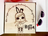 Asha Jane & Co Laser cut & engraved Flip top lid with dividers and engraved image of LOL doll personalised with name