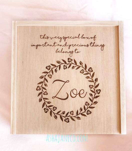 Asha Jane & Co Laser Engraved Handcrafted Slide Top Box Floral Wreath Treasure Box with Custom Name