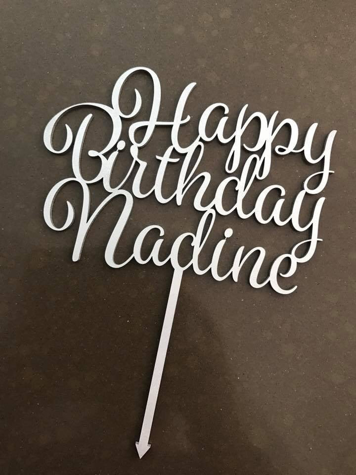 Cake Topper || Custom || Happy Birthday Script