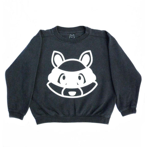 Le Future - Rooty Raccoon| Graphite - Kids Vintage Crewneck Sweatshirt