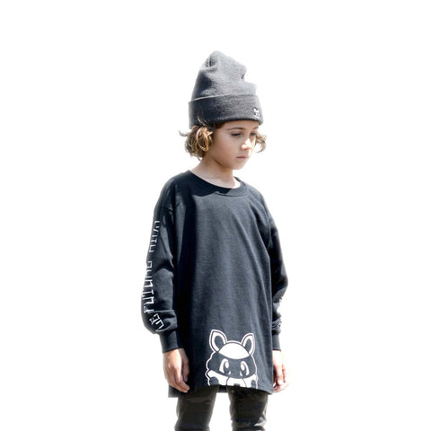Le Future - Rooty Raccoon| Black - Kids Long Sleeve Tee