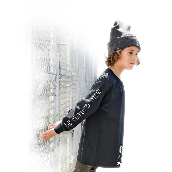 Le Future - Rooty Raccoon | Black - Kids Long Sleeve Tee