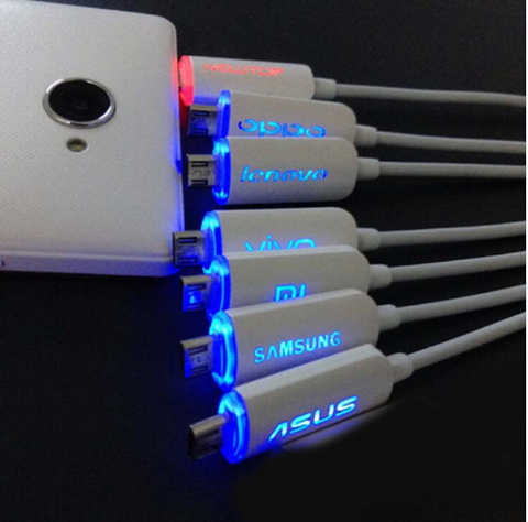 Luminated Blue Red LED Charging Cable for Samsung & IPhone