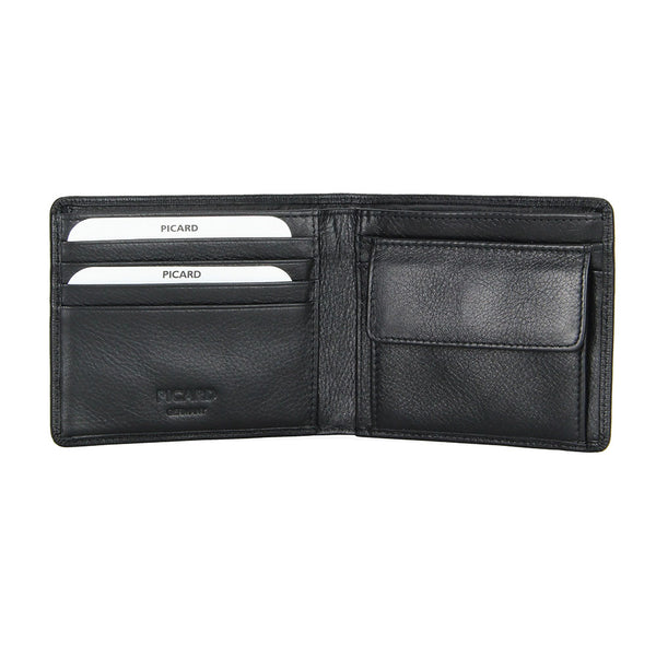 Saffiano Leather Wallet with Coin Pouch (Black)