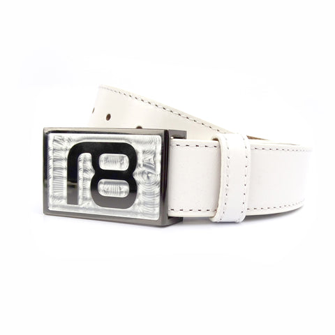 NXT18 Golf Large Logo Belt - Black Chrome with White Leather
