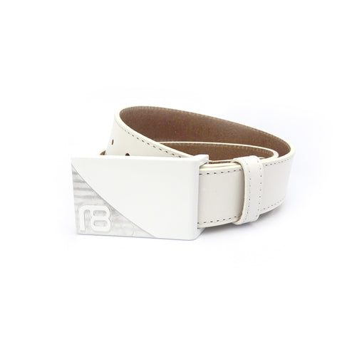 NXT18 Golf Signature Belt - White with white leather