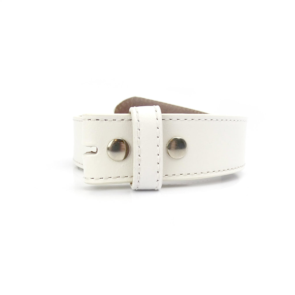 NXT18 Golf White Leather Snap Belt