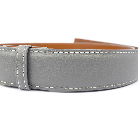Gray Premium Calf Skin Leather Belt Strap with white threading