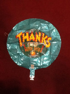 """Thank you for your help"" turquoise balloon"
