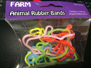 Animal Rubber Bands (Farm) 12 count