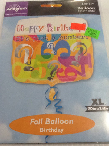 """Happy birthday it's just a number"" balloon"