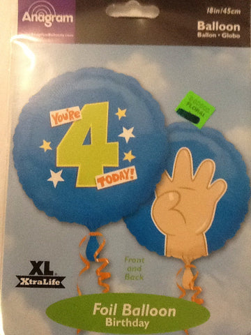 """Your Four Today"" birthday balloon - Titan Magic & Brain Busters Escape Rooms"
