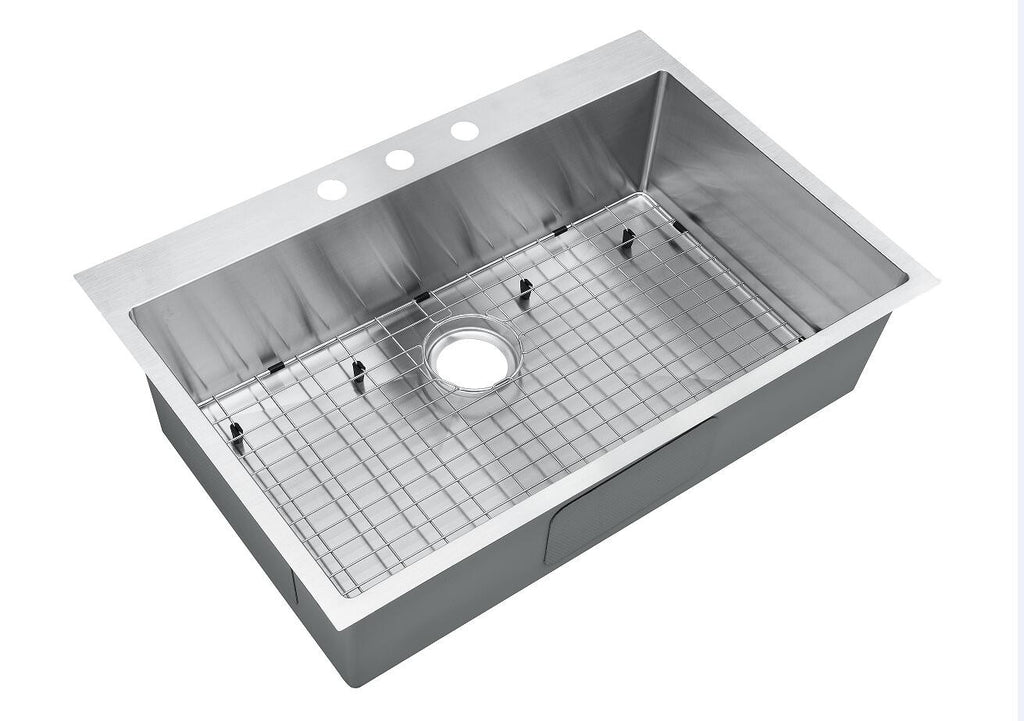 Top-Mount Drop-In Stainless Steel Single Bowl Kitchen Sink With Grid