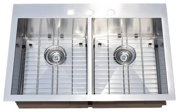 Top-Mount Drop-In Stainless Steel Double Bowl Kitchen Sink With Grids