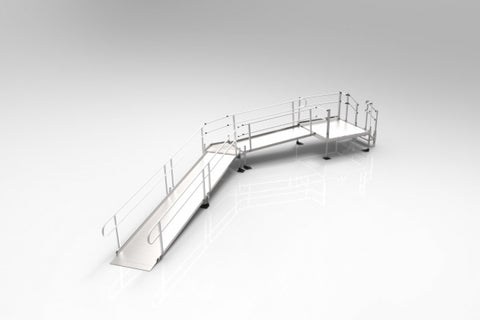 Handicap Ramp Rental 30' Feet with Turn Platform Handrails Aluminum - Footit Medical, CPAP, Stairlift, Orthotic, Prosthetic, & Mobility Supply