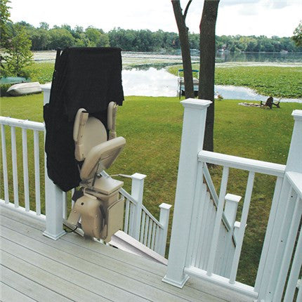 Bruno Outdoor Elite Stairlift StairGlide Chair Outside - Footit Medical, CPAP, Stairlift, Orthotic, Prosthetic, & Mobility Supply