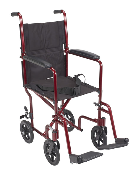 Red Transport Wheelchair with 1 Year Warranty