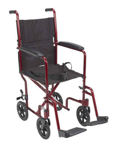 Red Transport Wheelchair with 1 Year Warranty - Footit Medical, CPAP, Stairlift, Orthotic, Prosthetic, & Mobility Supply