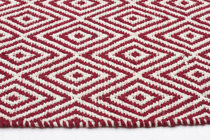 Modern Flatweave Diamond Design Red Rug - MaddieBelle