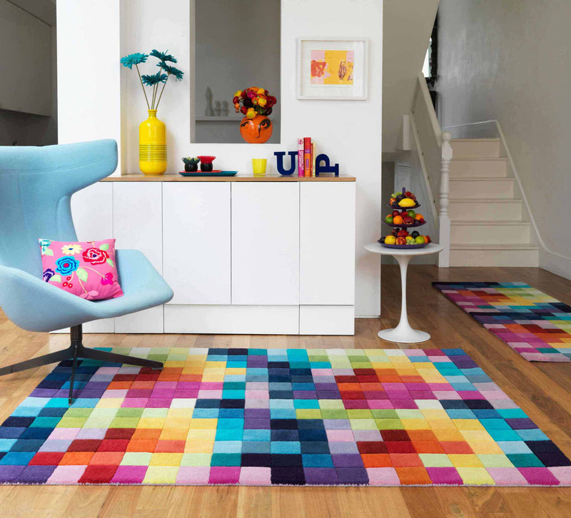 ASIATIC FUNK MULTI COLOURED WOOL RUG - MaddieBelle