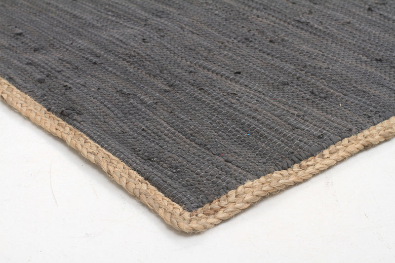 Reno Cotton and Jute Rug Charcoal - MaddieBelle