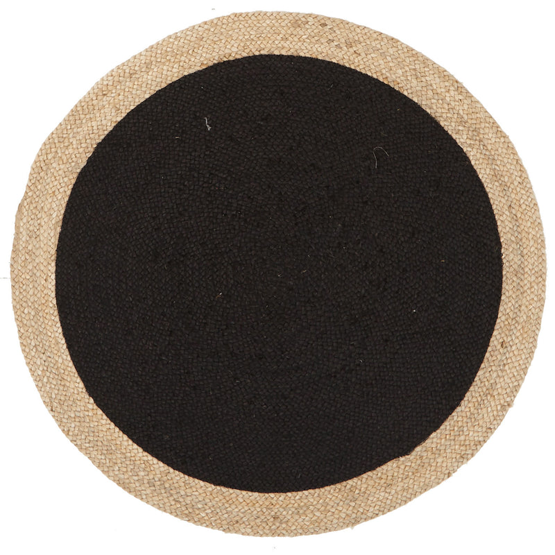 Round Jute Natural Rug in Black - MaddieBelle
