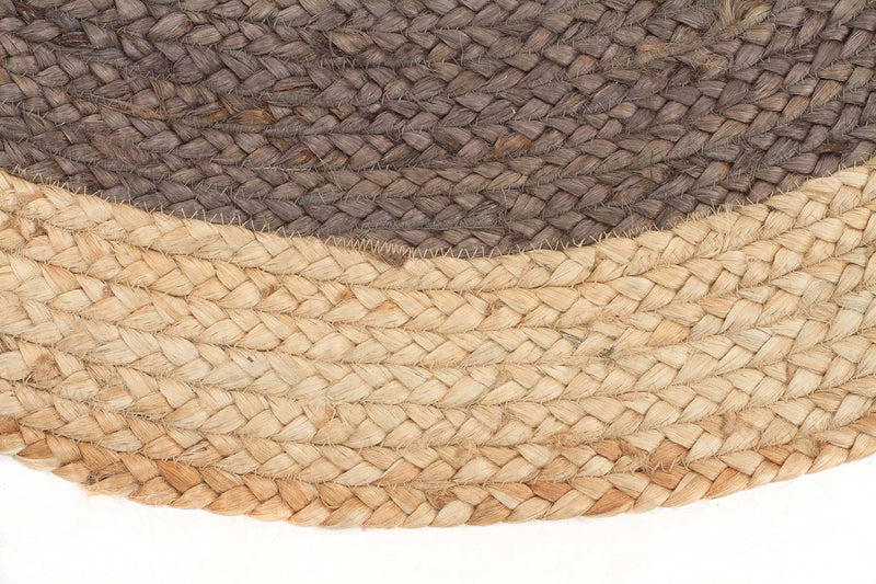Round Jute Natural Rug Charcoal - MaddieBelle
