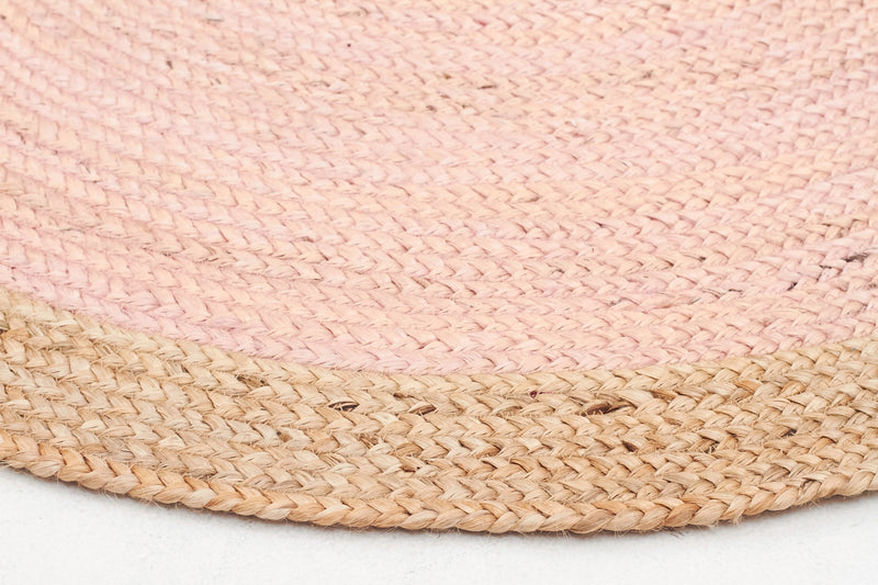 Round Jute Natural Rug in Pink
