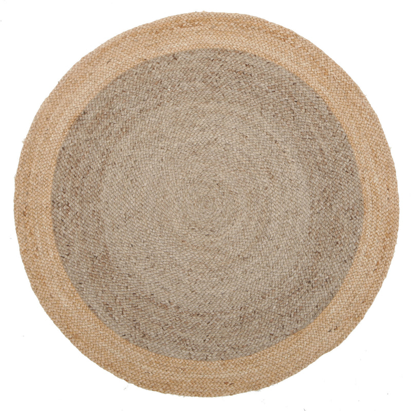 Round Jute Rug in Silver