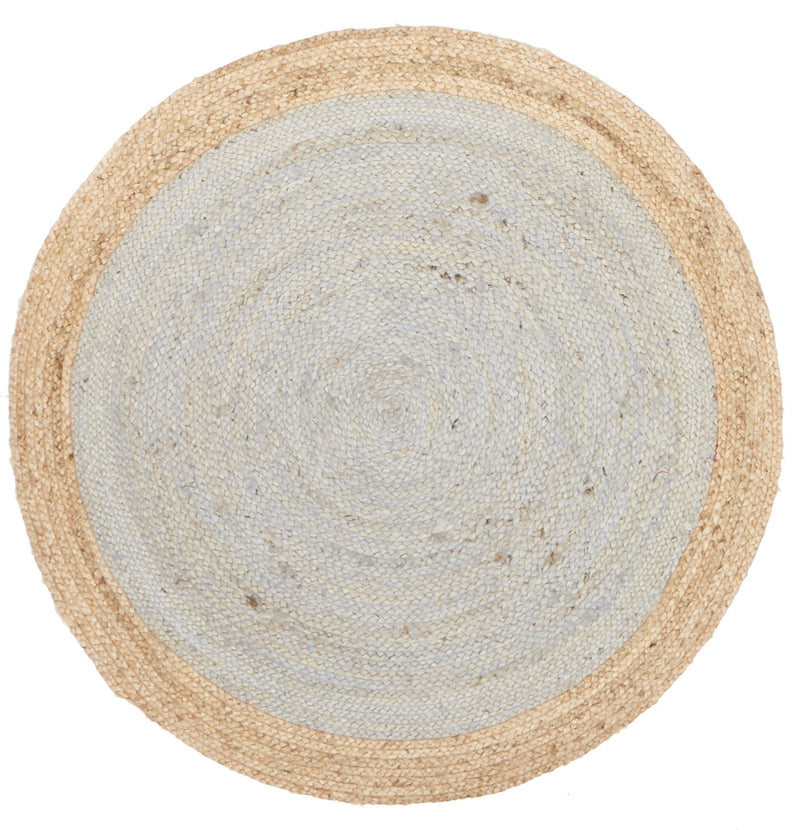 Round Jute Rug in Silver Blue