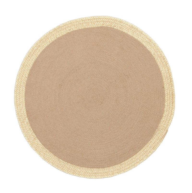 Milano Hand Braided Jute & Gold Leather Round Rug