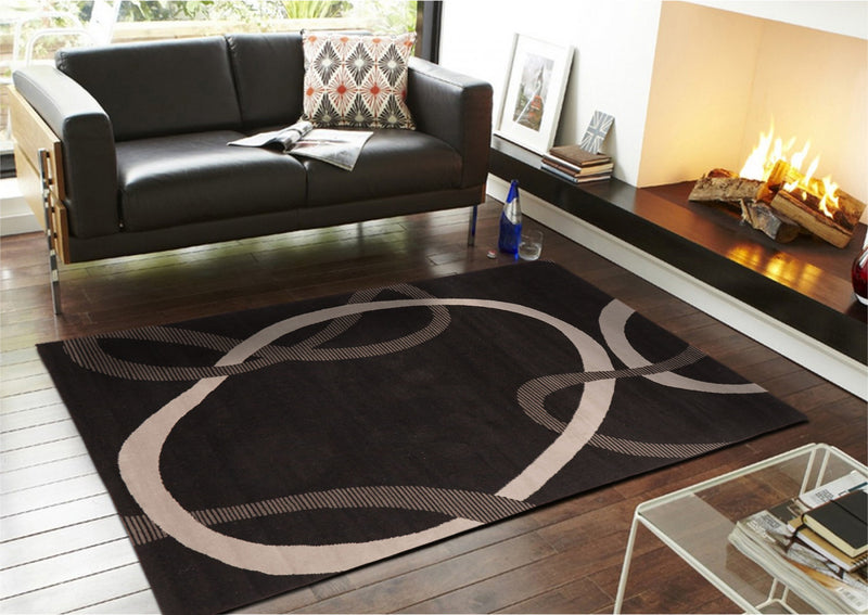 Abstract Modern Rug Black Grey