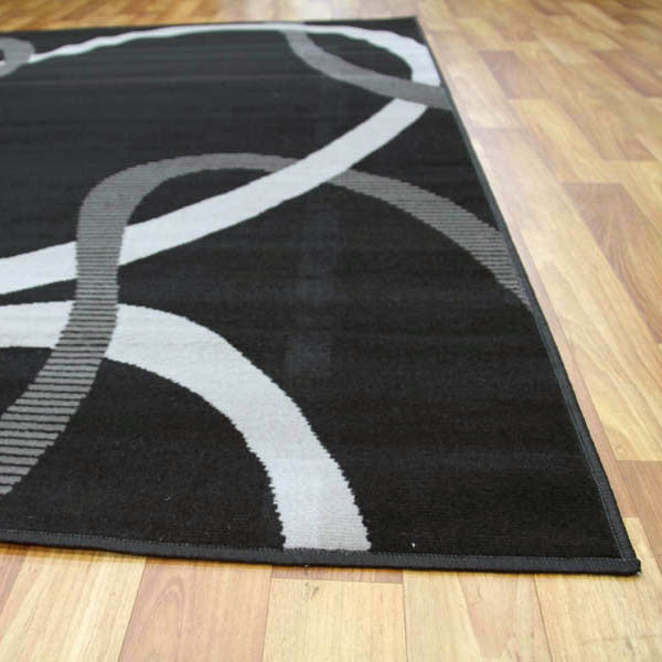 Abstract Modern Rug Black Grey - MaddieBelle