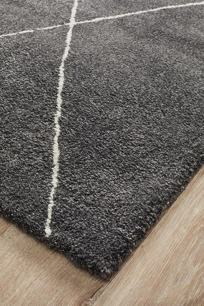Broadway Jasmine Diamond Charcoal Rug - MaddieBelle