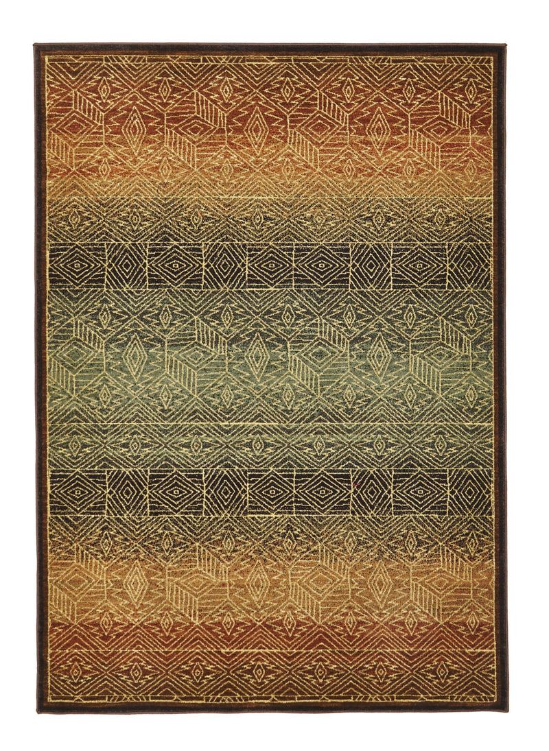 Tribal Oriental Brown Multi Design Rug