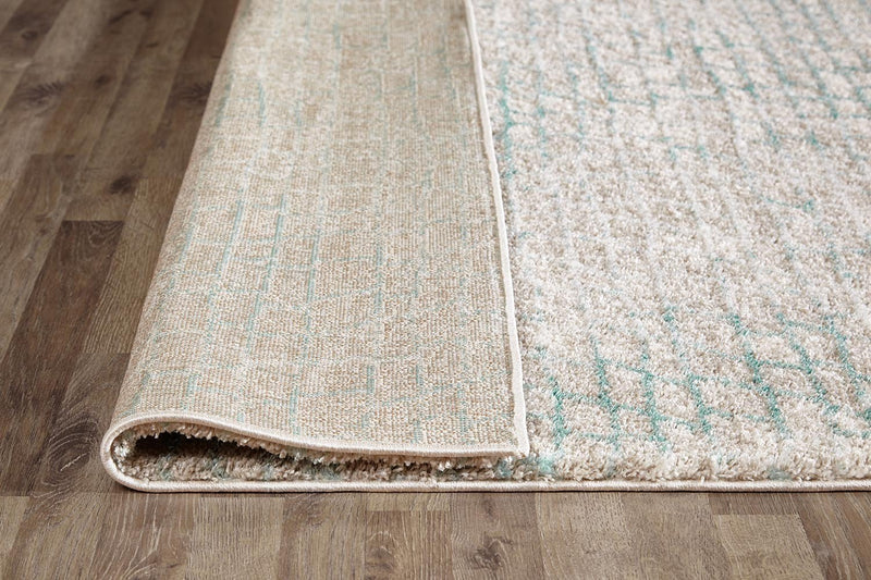 Lily Modern Brick Natural and Soft Blue Rug - MaddieBelle