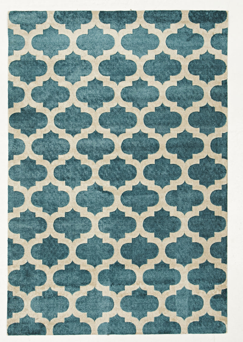 Stylish Trellis Design Rug in Blue - MaddieBelle