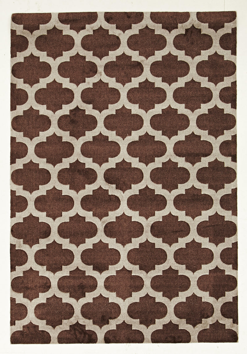 Stylish Trellis Design Rug in Brown - MaddieBelle