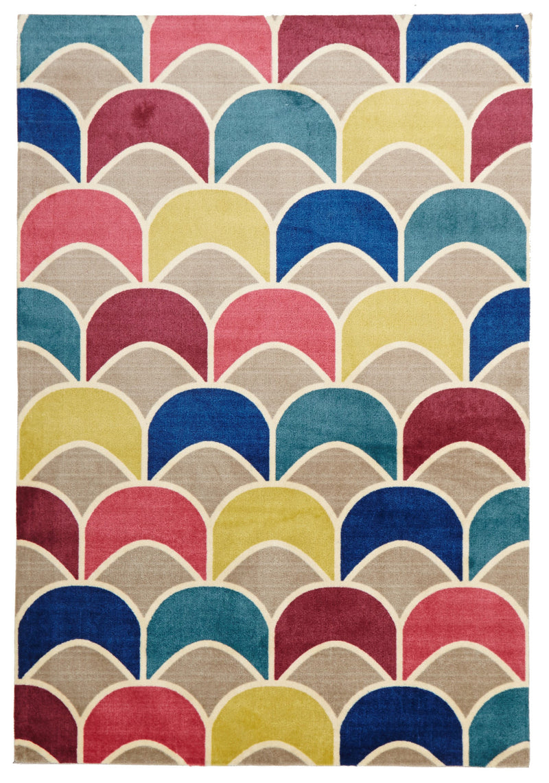 Fish Scale Raspberry Blue Rug - MaddieBelle