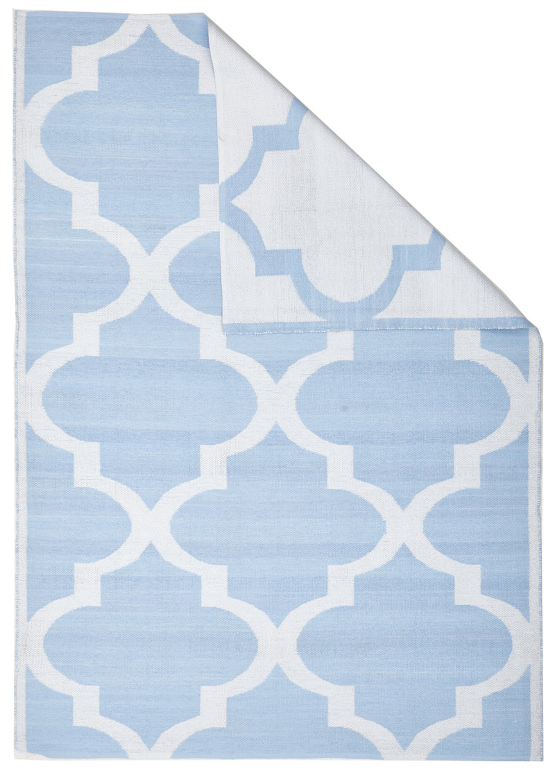 Coastal Indoor Out door Rug Trellis Sky Blue White - MaddieBelle
